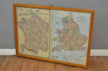 A VINTAGE FRAMED MAP OF ENGLAND AND FRANCE