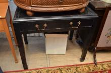 A CHINESE BLACK LACQUERED CONSOLE TABLE