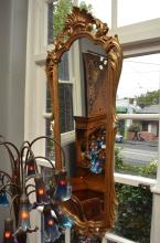 A FRENCH STYLE GILT CARVED TIMBER WALL MIRROR