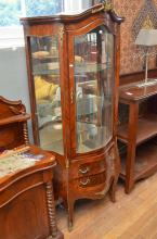 A LOUIS XV STYLE VITRINE (WITH CONSIDERABLE DAMAGE TO VENEER ON BACK LEG H194 X W80 X D45CM)