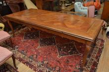 A LARGE FRENCH PROVINCIAL EXTENSION DINING TABLE 78CM H X 260CM L X 110CM D (unextended) (PLEASE NOTE: IF PURCHASED, ANY HEAVY LIFTI...