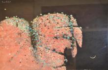 BASIL HADLEY, CLIFF FACE, GOUACHE ON PAPER, 55 X 76 CM