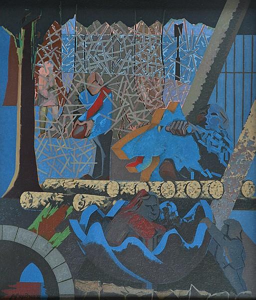 Jeffrey Bren (1944-2007) Children in the Park 1982 oil on canvas