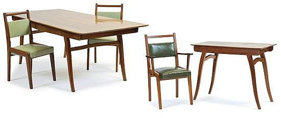 Schulim Krimper (1893-1971)A Japanese oak dining suite, unsigned
