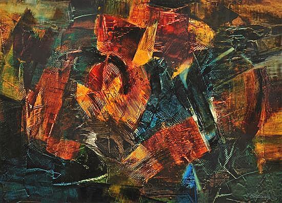 LUDWIK DUTKIEWICZ (1921-2008) Abstract oil on board