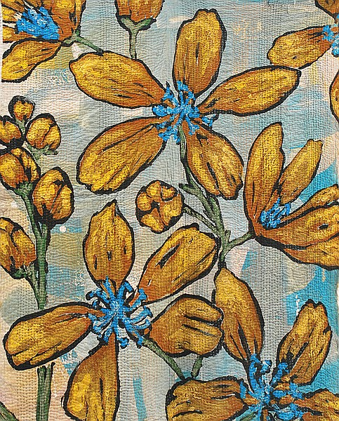 DAVID BROMLEY (BORN 1960) Printed and hand-stitched throw/wall hanging with a floral motif.
