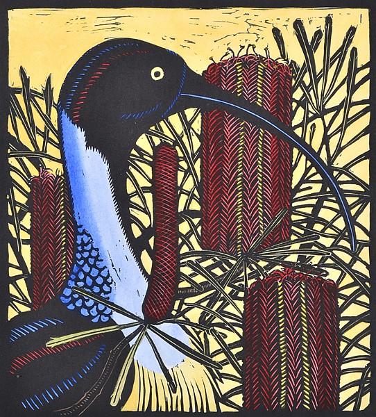LESLIE VAN DER SLUYS (1939-2010) Ibis and Swamp Banksia 1980 linocut 31/65 (H.C. IV 81)