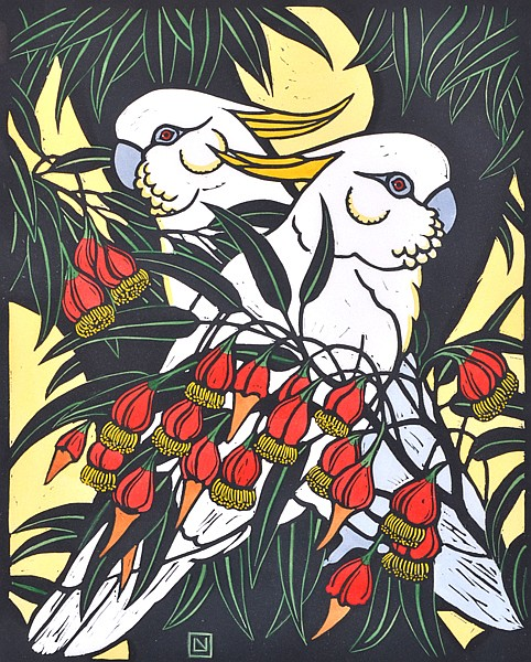 LESLIE VAN DER SLUYS (1939-2010) Sulphur Crested Cockatoo and Fuschia Gum 1981 linocut VII/L (H.C IV 83)