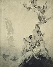 NORMAN LINDSAY (1879-1969) Unknown Seas 1922 etching, engraving and stipple 11/55
