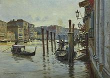CHARLIE W. WYLLIE (BRITISH, 1853-1923) Venetian Canal oil on canvas on board