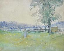 JULIAN ROSSI ASHTON (1851-1942) A Stroll in the Field 1916 watercolour