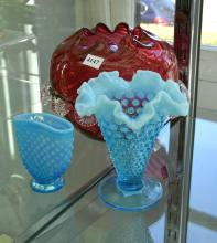 A COLLECTION OF VICTORIAN ART GLASS, INCL. VASELINE HOBNAIL AND CRANBERRY