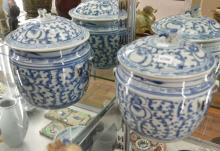 TWO BLUE AND WHITE STORAGE CHINESE JARS