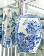 A LARGE CHINESE BLUE AND WHITE GINGER JAR AND PILLOW