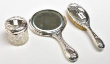 THREE STERLING SILVER DRESSING TABLE ITEMS
