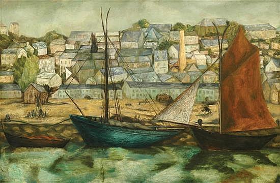 David Strachan (1919-1970) Fishing Port oil on board