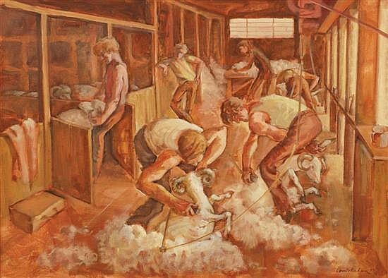 Louis Kahan (1905-2002) Shearing the Rams 1977 oil on canvas on board