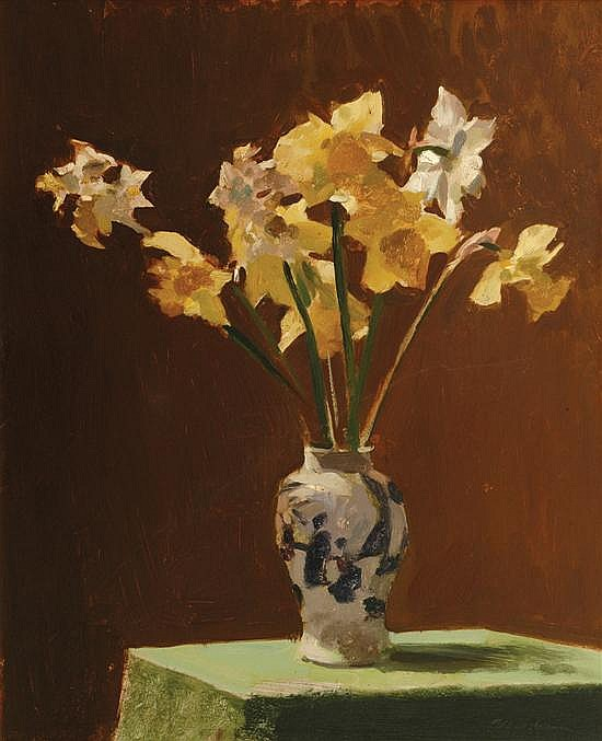 Max Meldrum (1875-1955) Still Life with Daffodils oil on board