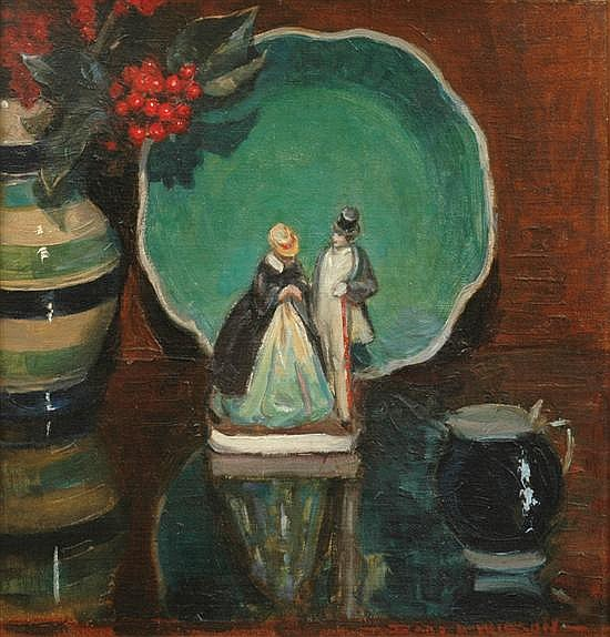 Dora Wilson (1883-1946) Still Life with Staffordshire Figurine oil on canvas on board
