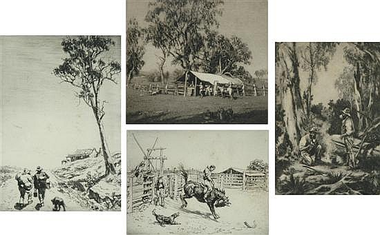 Lionel Lindsay (1874-1961) Group of four etchings includingi) The Shanty on the Rise a/p  18 x 13cmii) The Bucking Brumby 26/75   11...
