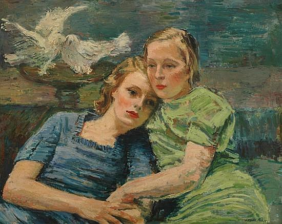 Sergius Pauser (Austrian, 1896-1970) Portrait of Two Girls 1934 oil on board