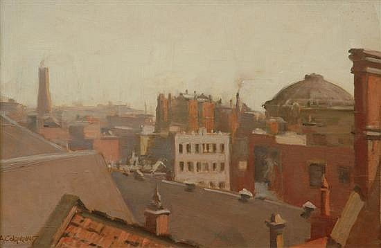 Alexander Douglas Colquhoun (1862-1941) View of Melbourne Rooftops oil on board