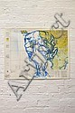 VLADIMIR KANIGHER (WALAAD) Untitled (Blue Face on Topographical Map) 2003 enamel stencil print on found paper 1/1 59 x 76cm