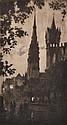 JOHN SHIRLOW (1869-1936) Melbourne Spires circa 1915 etching 4/60