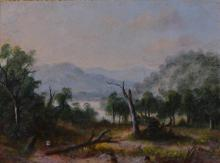 ATTRIBUTED TO A. W. EUSTACE, PAIR OF LANDSCAPES, OIL ON CARD