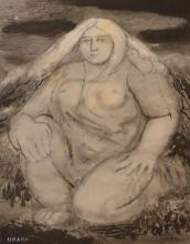 GEORGE BROWNING, WOMAN IN LANDSCAPE, INK ON PAPER, 30 X 24 CM