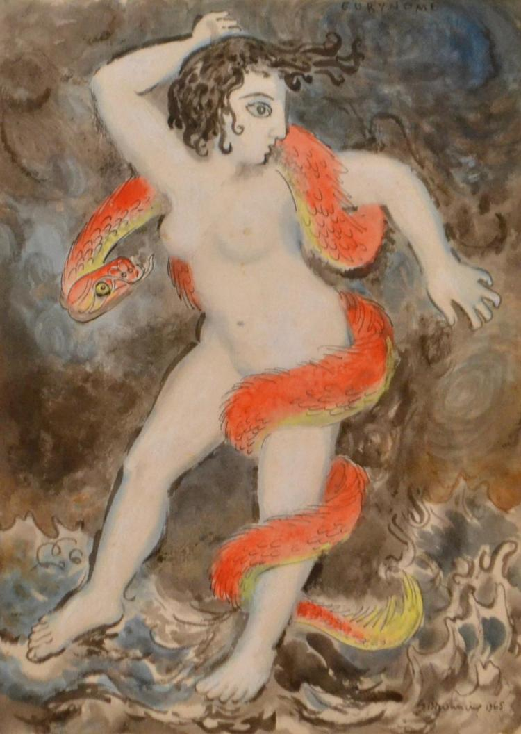 GEORGE BROWNING, FIGURE WITH SNAKES, INK WASH AND WATERCOLOUR, 31 X 22 CM
