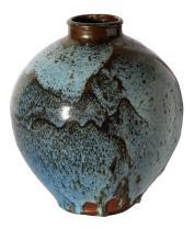 PETER RUSHFORTH (1920-2015) Ovoid Jar circa 1985 stoneware, tenmoku and Jun glazes