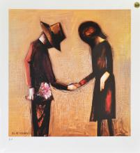 A CHARLES BLACKMAN PRINT, HOLDING HANDS, GICLEE PRINT P/P, 33 X 24CM, UNSIGNED