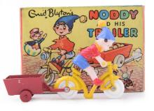 BUDGIE ENID BLYTONS NODDY AND HIS TRAILER WITH PAINTED PLASTIC NODDY FIGURE ON YELLOW BIKE WITH RED TRAILER, PAINT FATIGUE TO INSIDE...