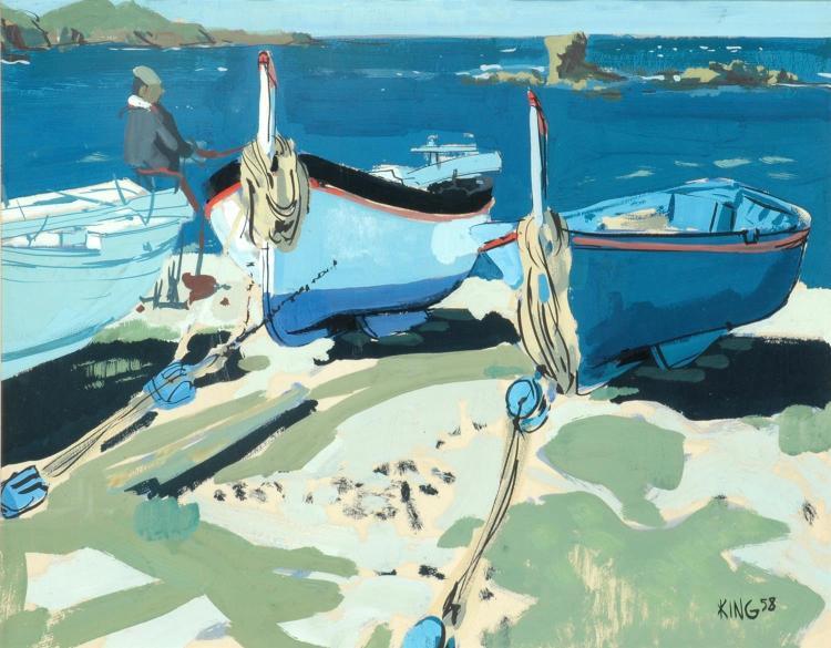 Michel King (French, born 1930) Fishing Boats 1958 gouache