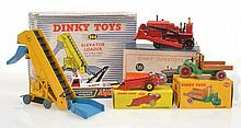 COLLECTION OF DINKY FARMING MODELS INCLUDING 561 BULLDOZER- MISSING TRACKS; 964 ELEVATOR LOADER; 342 MOTOCART; 321 MASSEY-HARRIS MANURE SPREADER; AND 442 LAND ROVER, BOX INCOMPLETE (F-VG BOXES P-G) (5)
