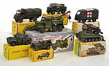 COLLECTION OF MILITARY FRENCH DINKY MODELS INCLUDING 807 AMBULANCE;