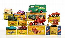 COLLECTION OF MATCHBOX MODELS INCLUDING NO 17 METROPOLITAN TAXI; NO 69 HATRA TRACTOR SHOVEL; NO 62 TV SERVICE VAN, AERIAL MISSING; NO 68 ARMY WIRELESS TRUCK; NO38 HONDA M/CYCLE AND TRAILER; NO33 FORD ZEPHYR III; NO4 TRACTOR; NO4 RUSTON BUCYRUS; M-5
