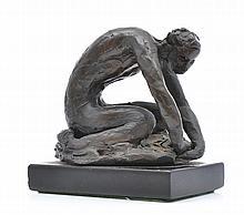 LENORE BOYD (born 1953) Crouching Figure bronze