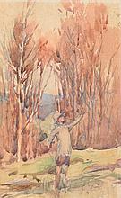 JULIAN ROSSI ASHTON (1851-1942) Potrait Of A Young Girl In A Landscape watercolour
