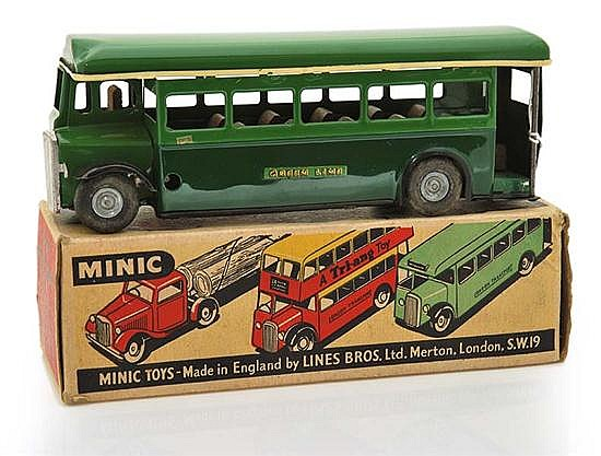 TRIANG MINIC SINGLE DECKER BUS, POST-WAR, DARK GREEN LOWER BODY, MID-GREEN UPPER BODY, DORKING DESTINATION, SIGNS OF RE-PAINTING (VG...