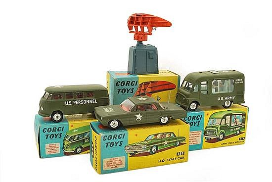 FOUR CORGI MILITARY MODELS INCLUDING 353 DECCA AIRFIELD CONTROL RADAR 424 SCANNER; 356 PERSONNEL CARRIER, RED INTERIOR; 358 H.Q. STA...