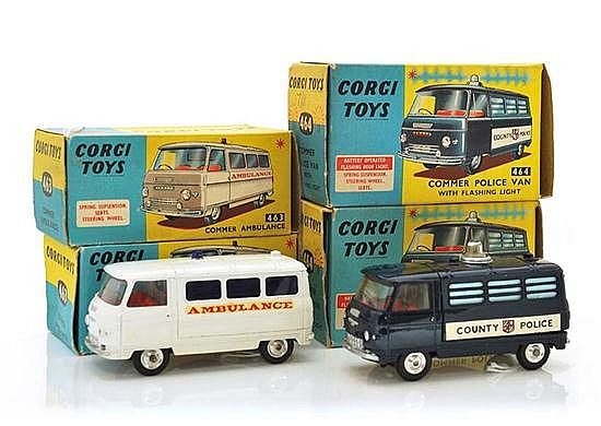 FOUR CORGI COMMERCIAL VEHICLES INCLUDING 2 X 463 COMMER AMBULANCE IN CREAM AND WHITE; AND 2 X 464 COMMER POLICE VAN IN METALLIC BLUE...