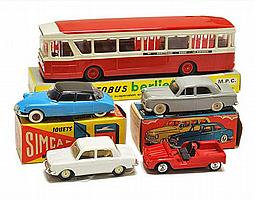 FIVE MINIALUXE (FRANCE) MODELS INCLUDING 4 X 1/43 SCALE AND AUTOBUS BERLIET (VG-M BOXES G-VG) (5)