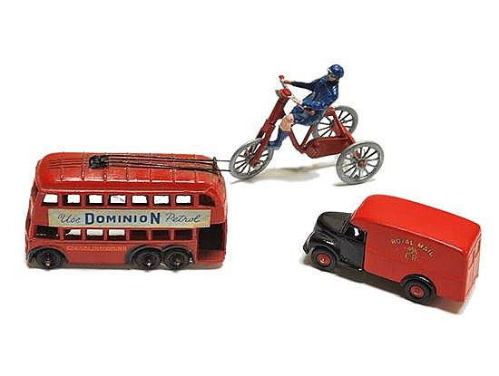 BRITAINS ROYAL MAIL VAN; TAYLOR & BARRAT 'USE DOMINION PETROL' BUS; AND ONE OTHER, ALL UNBOXED (G) (3)