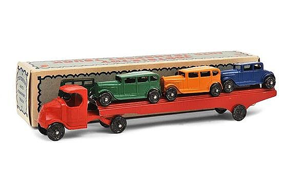 TOOTSIETOY AUTOTRANSPORT TRUCK, RED CAB, TINPLATE LORRY AND 3 X DIE CAST VEHICLES (VG-E BOX VG)