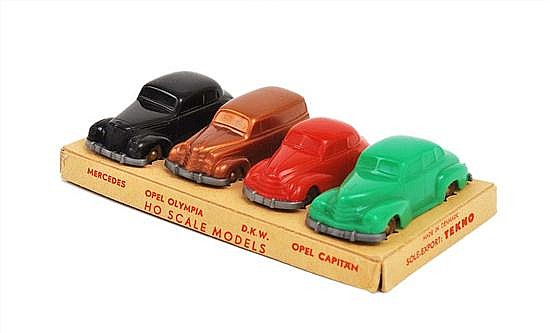 RARE TEKNO HO MODELS SOLE EXPORT SET INCLUDING MERCEDES, OPEL OLYMPIA, D.K.W. AND OPEL CAPTAIN (M BOX VG)