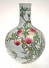 LARGE CHINESE ENAMELLED FAMILLE ROSE BOTTLE VASE WITH PEACH AND BAT DECORATION, 55CM HIGH, SEAL MARK TO BASE