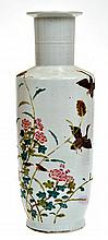 CHINESE ENAMELLED PORCELAIN MALLET SHAPED VASE WITH DUCK SCENE, 31CM HIGH
