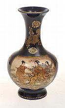 JAPANESE SATSUMA BALUSTER VASE, HEAVILY GILDED WITH TWO OPPOSING PANELS OF GEISHA AND SAMURAI SCENES, SIGNED KINKOZAN,  RESTORED LIP, 9CM TALL